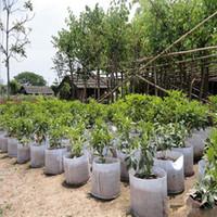 ingrosso giardino intessuto-Riutilizzabile rotondo tessuto non tessuto vasi vaso sacchetto di radice contenitore crescere sacchetto di aerazione contenitore giardino forniture pentola