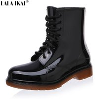Wholesale Vintage Wedge Heel Boots - Wholesale-New Fashion Vintage Women Martin Rain Boots Lace-Up Low Heel Wedges Female Rubber Boots for Rainy Days Winter Shoes XWN0139-5