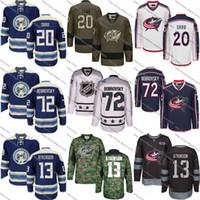 Wholesale Mens Star Jacket - S-3XL Mens 13 Cam Atkinson 20 Brandon Saad 72 Sergei Bobrovsky Columbus Blue Jackets Custom Jersey Blue White Camo All Star Hockey Jerseys