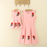 Wholesale Girls Dresses Rose - Mom Girls Rose Dresses Mother Daughter Floral Embroidery Matching Dress 2017 Kids Girls Dress Women Party Dress Family Outfits Clothing S976