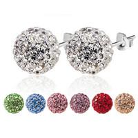 Wholesale Cheap Rhinestone Ball Beads - Fashion korean shamballa beads Stud Earrings 7colors Ladies crystal Rhinestones ball Earrings For women Luxury Brand Jewelry cheap wholesale