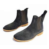Wholesale Classical Nude - Classical Vintage Chelsea Boots Handmade All-Matching Kanye West Boots Crepe Bottom Casual Platform High Men'S Shoes Botas