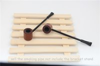 Wholesale Dry Herb Smoke - epacket free shipping USA rosewood wooden smoking pipe red Ebony wood tobacco dry herb pipes cigarette holder Mini Long Wood Pipe Men's gift