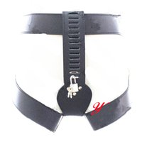 Wholesale thighs bondage belts - black locking female chastity belt devices panties thigh restraints Bondage Gear adult sex toys for women PU GN322402035