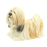 Wholesale Puppy Paintings - Cute Lying Lhasa Apso Puppy Figurine Handicraft Statue For Pet Pals Made of resin and hand painted