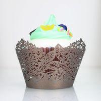 Wholesale Laser Cut Cupcake Boxes - Brown cupcake box thanksgiving wed cupcake wrapper rustic laser cut single cake box party cupcake decoration