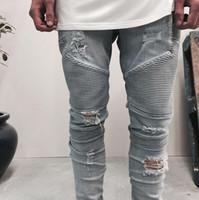 Wholesale Button Holes - fashion biker jeans designer pants slp blue black destroyed mens slim denim straight biker skinny jeans men ripped jeans