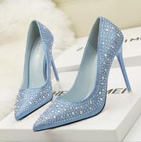 Wholesale Sparkling High Heel Stilettos - Brand Women Shoes 10cm Bottom High Heels Women Pumps 34-39 Sparkling Fashion Pumps Stilettos Pointed Toe Crystal Wedding Shoes