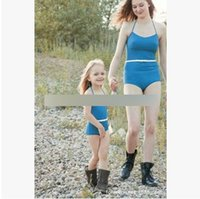 Wholesale One Piece Swimsuit Belt - Mother and daughter swimsuit girls soild suspender swimwear womans bowknot belt swimsuit 20107 new fashion Family spa beach swiming T1602