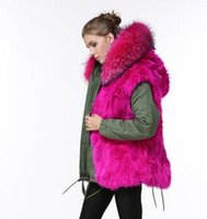 Wholesale Mr Mrs women s Fox Fur Lined mini parka hooded with real raccoon fur collar with DHL