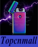 Wholesale High Pulse - High Quality Electronic Lighter DUAL Arc Windproof Ultra-thin Metal Pulse USB Rechargeable Flameless Electric Arc Cigar Cigarette Lighter