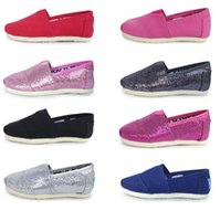 Wholesale Shallow Mouth Canvas - Baby Shallow mouth canvas shoes children mermaid Sequins casual shoes kids Lazy flats shoes Slip On sneakers shoe 8 color KKA1954