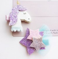 Wholesale Animal Barrettes - Shining Dimensional Unicorn Star Girls Hair Clips Kids Hairpins Barrettes Kids Hair Accessories Beautiful