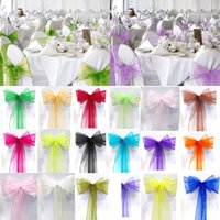 Wholesale Tie Organza Chair Bow - Wholesale Wedding Favor Sheer Organza Chair Covers Sashes Band 15cm x 275cm Ribbons Bow Party Banquet Event Tie Full Colors Free Shipping