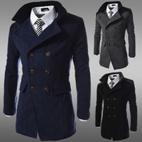 Wholesale Trench Wool Coat For Men - Wholesale- fashion 2016 brand winter long trench coat men good quality double breasted wool blend overcoat for men size 3xl