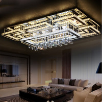Wholesale Wedge Mount - Luxury Modern LED Crystal Ceiling Light Square Ceiling Lamp K9 Crystal Ceiling Chandeliers for Living Room Bedroom Restaurant Light Fixtures
