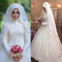 Wholesale Vintage Big Collar Shirt - Islamic Wedding Dresses High Neck Modest Long Sleeves Bridal Gowns Muslim Vintage Lace Appliques Big Wedding Dress with Train