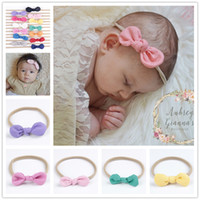 Wholesale Solid Color Headbands - Newborn Baby Headbands Bunny Ear Elastic Headband Children Hair Accessories Kids Cute Hairbands for Girls Nylon Bow Headwear Headdress KHA92