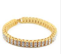 Wholesale Titanium 14k Gold Inlay Wholesale - Hot selling Mens 2 row Bracelet Fashion Jewelry Zinc Alloy Inlay rhinestone full of Chain Link Bracelet Jewellery