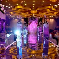Wholesale Wholesale Wedding Ceremony Supplies - 30m Per Lot 1m Wide Wedding Ceremony Centerpieces Decoration Mirror Carpet Aisle Runner With Gold Silver Side Free Shipping