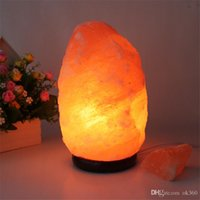 Wholesale Wood Lamp Base - 100% New Himalayan Salt Lamp with Neem Wood Base+Plug+Switch+LED Lamp for Air Purification Therapy Natural Mineral Rock Light