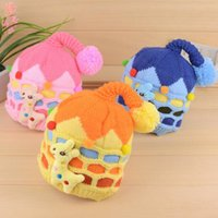 Wholesale Knit Hats For Infant Girls - Winter Warm Cartoon Deer Winter Infants Beanie Hat 5 Colors Handmade Crochet Knitted Baby Cute Kids Hat Children Caps Hats for Xmas Gift