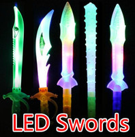Wholesale Kids Dress Free Ems - Free EMS 100pcs HOT LED Flash Glow Sword Knife Axe Hammer LED Weapon Costume Dress Up Props LED Light Flash Gravity Kids Toy Christmas Gift