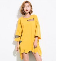Wholesale 2017 Summer Spring New Fashion Solid Color Round Collar Three Quarter Sleeve Hollow Out Loose T shirt Woman F30001