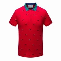 Wholesale Knit Striped Shirt - menswear polo shirts 2017 new embroidered animals Little leopard Striped collar polo shirt knit collar fashion summer street