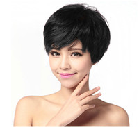 Wholesale Handsome Mixed Boys - ePacket free shipping Handsome Boys Wig Layer Short Natural Black Men's Synthetic hair Cosplay Wigs