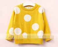 Wholesale Dot Cardigan Girls Baby - 2017 Autumn New Baby Girl Knitting sweater Big Circle long sleeve pullover Children Clothes 317582