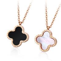 Wholesale Gossip Girls - Double Faced Black Lucky Four Leaf Clover Women Choker Necklace Rose Gold Short Design Pendant Chain Gift Gossip Girl Serena Same Necklace