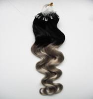 ingrosso estensioni dei capelli ombre micro loop-Argento ombre Body micro estensioni dei capelli del ciclo 1g 100s T1b / grigio estensioni di anello di mikro di capelli umani di ombre di rey