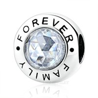 Wholesale Sales Forever - Hot Sale 925 Sterling Silver Family Forever Charm Beads With Clear CZ Original Pan Bracelet Authentic Jewelry Gift for Girlfriend CAS378