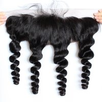 Wholesale baby loosing hair resale online - Brazilian Loose Wave x4 Ear To Ear Pre Plucked Lace Frontal Closure With Baby Hair Remy Human Hair Free Part Top Frontals