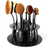 Europe oval round brush - 10 Hole Oval Makeup Brush Holder Dryer Rack Organizer Toothbrush Cosmetic Shelf Display Stand