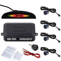 alarme de data venda por atacado-Up-Date Car Parking Traseira Reversa 4 Sensores Kit Buzzer Radar Display LED Sistema de Alarme Frete Grátis