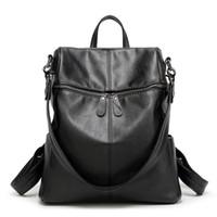 Wholesale Korean Style Big Size - Wholesale- 2016 Korean style Women Backpack Leather Black Shoulder Bag Big Size School Back Bags For Teenager Girls lady's laptop backpack