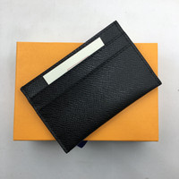 Wholesale Bank Classic - Classic Black Genuine Leather Credit Card Holder Wallet Top Quality Business Men Slim Bank ID Card Case Pocket Bag 2018 New Thin Coin Purses