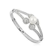 ingrosso anello bianco perla 18k oro-Marca per le donne Austria Crystal Pearl Bangles Bracciali Anelli Prom Gioielli realizzati con Swarovski Elements 18K oro bianco riempito regalo di Natale