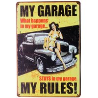 Wholesale Car Theater - Wholesale- MY GARAGE MY RULES Tin Sign Vintage Decor Plate Lady and Car for home hotel movie cinema theater wall art LJ2-1 20x30cm B1