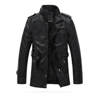 Wholesale Military Skull Jacket - Winter Men Black Leather Jacket Long Brand Leather Jacket Suede Fur Coat Casual Bomber Jacket Military Men Basic Coat
