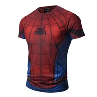 Men spiderman mens - 2017 new soft quick dry sports material red color spiderman t shirt d print mens nice popular tshirt us hero finger painting sweatshirt