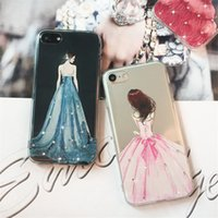 vestidos de novia color manzana al por mayor-TPU transparente suave silicona pintado vestido de novia color diamante para Apple iPhone 7 plus funda iphone 5S 6s 7S funda para teléfono carcasa protectora