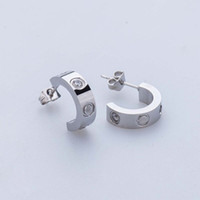 Wholesale Fine Jewlery - Lady fashion 316L Stainless Steel love stud earrings with screw crystal earrings for women men Couples fine jewlery wholesale