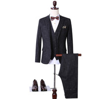 Men oxford tuxedo - Light black Groom Tuxedos Two Buttons Notch Lapel Slim Fit Mens Wedding Suit Groomsman Bridesman Formal Mens Suit Jacket Pants Vest