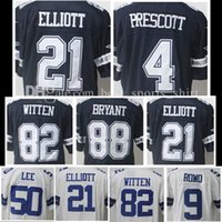 Wholesale Smith Men - Men's Stitched 21# Ezekiel Elliott 4 Dak Prescott 22 Emmitt Smith 88 Dez Bryant 82 Jason Witte 50 Sean Lee Embroidery jersey