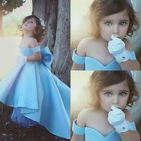 Wholesale Cheap Big Girl Wedding Dresses - 2018 New Light Sky Blue Cute Off the Shoulder Flower Girls' Dresses With Big Bow High Low Princess Girls Pageant Dresses Cheap