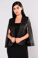 black leather blazer jacket toptan satış-Bayan blazer 2017 Sonbahar Feminino Faux Deri PU Siyah Blazer Ceket Kadınlar uzun Kollu Kısa Blazer Ceket Pelerin Ceket bleiser mujer Suits