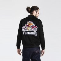 Wholesale Korean Frocks - 2016 Autumn tide brand Motorcycle Outerwear male Korean embroidered Coat Men Women Youth stylish frock baseball Jacket bomber